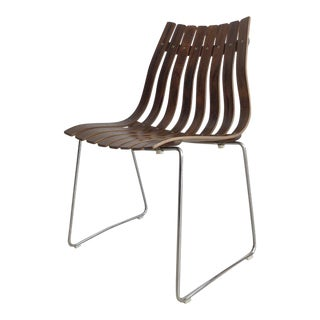 1958 Hans Brattrud for Hove Mobler Norwegian Rosewood Slatted Bentwood Chair For Sale