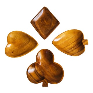 Mid Century Wood Card Suit Snack Dishes - Set of 4 For Sale