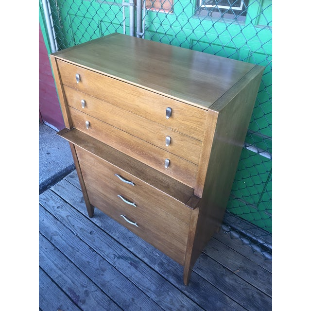 Brown 1960s Mid Century Modern Profile Highboy Dresser by Drexel For Sale - Image 8 of 13