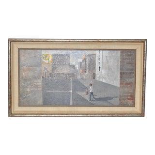 Urban Landscape / Inner City Basketball Court Oil Painting C.1970s