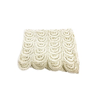 Vintage Shabby Chic Intricate Doily Blanket With Scalloped Edging For Sale