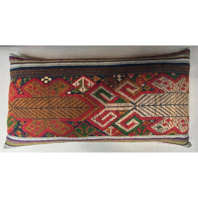 Vintage Handwoven Embroidered Pillows Northern Laos - A Pair For Sale - Image 4 of 9