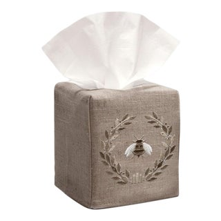 Beige Napoleon Bee Wreath Tissue Box Cover in Natural Linen & Cotton, Embroidered For Sale