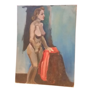 Nude Oil on Board Painting, 1940s