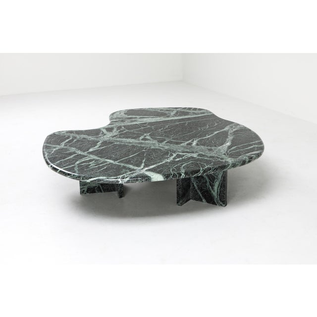 Postmodern Green Marble Coffee Table in the Manner of Noguchi For Sale - Image 11 of 12