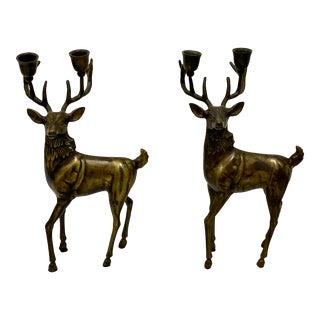 Cast Bronze Deer Candelabra - a Pair For Sale