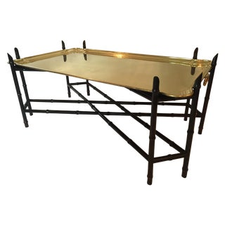 Yale Burge Regency Faux Bamboo & Brass Tray Table For Sale
