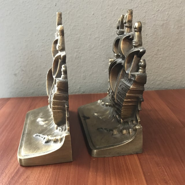 1960s Vintage Brass Schooner Ship Nautical Bookends - a Pair For Sale - Image 5 of 10