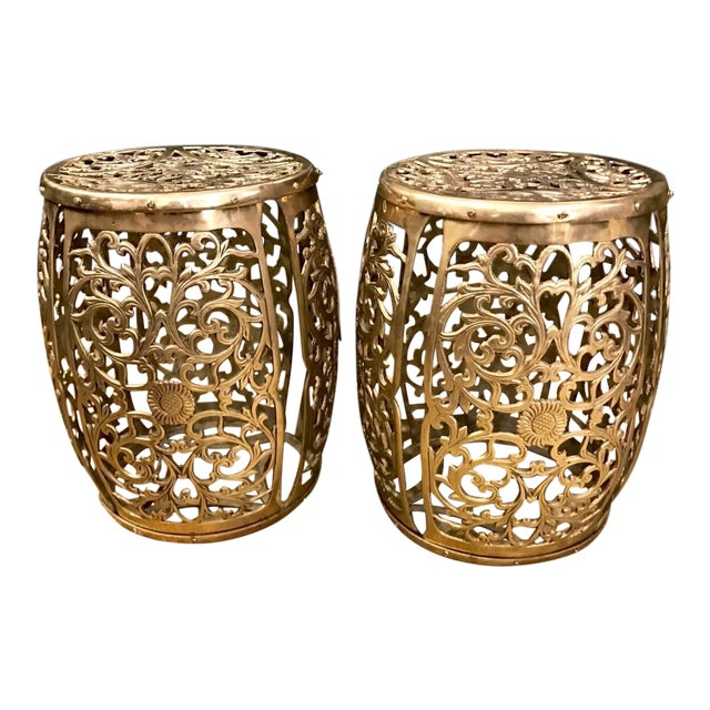 Pair of Cast Brass Chinoiserie Garden Stools, Scrolling Vines, C. 1960 For Sale
