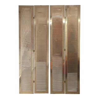 Mid-Century 4 Panel Solid Brass Screens For Sale