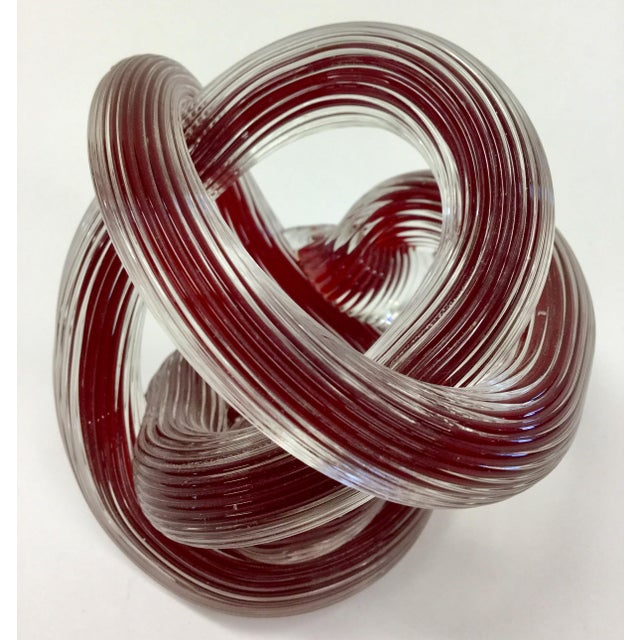 2000 - 2009 Zanetti Murano Style Ruby Red Glass Knot For Sale - Image 5 of 8