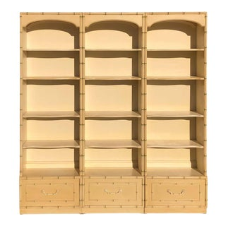 3 Piece Thomasville Allegro Faux Bamboo Bookcase Set For Sale