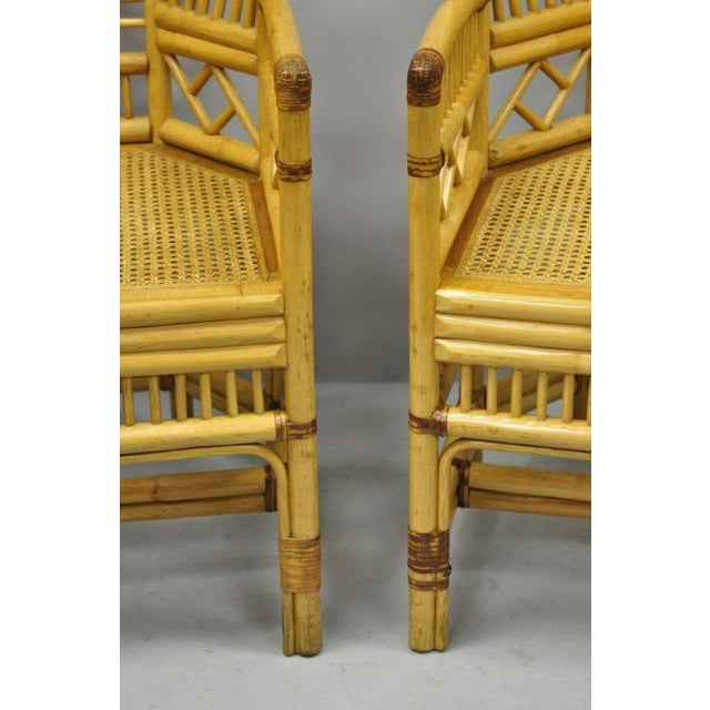 Vintage Brighton Pavilion Style Bamboo & Cane Rattan Arm Chairs- A Pair For Sale - Image 4 of 11