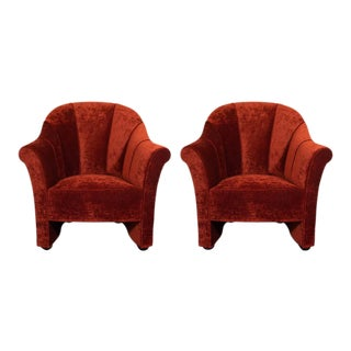Channel Back Lounge Chairs in Smoked Ruby Velvet by Josef Hoffman - a Pair For Sale