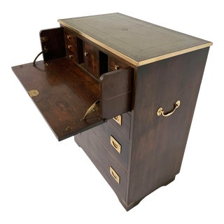 Antique English Secrétaire Campaign Chest With Brass Banded Leather Top For Sale