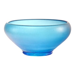 Teal Iridescent Satin Glass Bowl For Sale