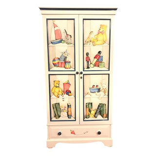 Hand Paint Decorated Tv or Armoire Cabinet For Sale