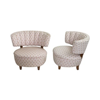 Pair of Channel Back Slipper Chairs For Sale