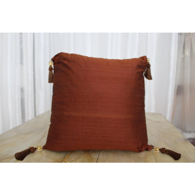 Fiber Isabelle H. Fortuny Style Burnished Russet Silk Tasselled Pillow For Sale - Image 7 of 8