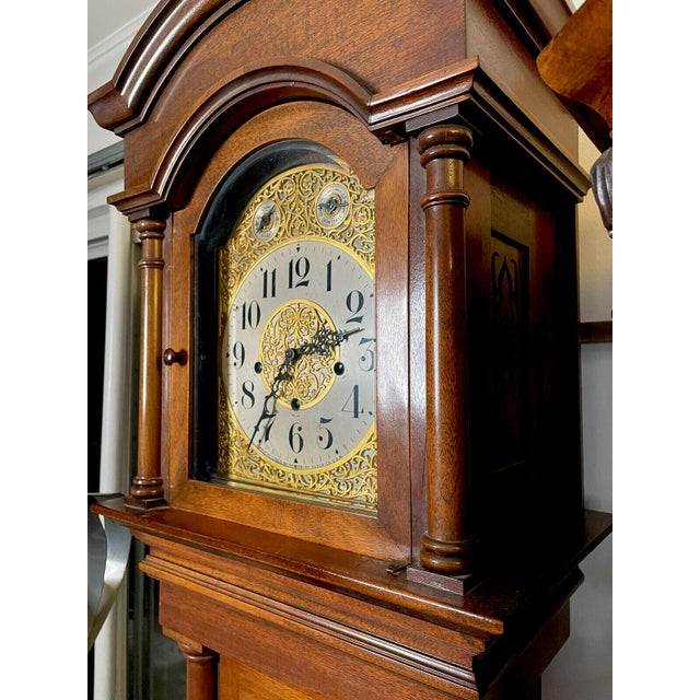 """Antique Waterbury Grandfather Clock - """"801 Hall Chime Clock"""" Model For Sale - Image 4 of 13"""