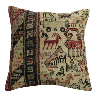 Pictorial Flat-Weave Pillow For Sale