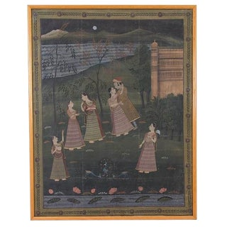 """Antique """"Moonlight Palace Garden"""" Indian Mughal Silk Painting 19th Century For Sale"""