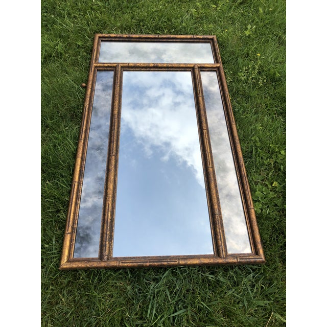 """Large 48"""" Chinoiserie Gold Faux Bamboo Mirror W Surrounding Smoked Mirrors-See Pictures For Sale - Image 10 of 10"""