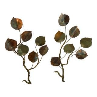 Vintage Jere Style Metal Leaf Wall Art - Set of 2 For Sale