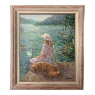 """Late 20th Century """"Girl and Her Dog"""" Figurative Landscape Oil Painting by Lynn Gertenbach, Framed For Sale"""