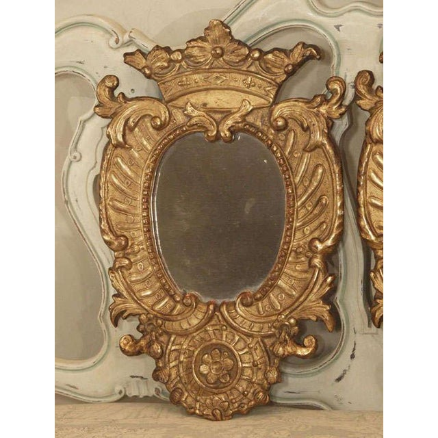 Italian Pair of Italian Gilt Mirrors For Sale - Image 3 of 8