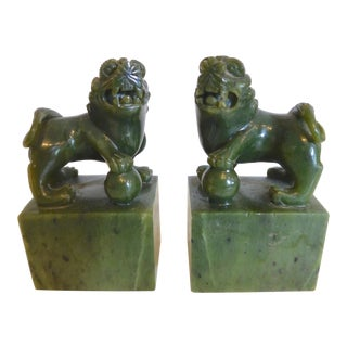 Hand Carved Spinach Jade Foo Dogs
