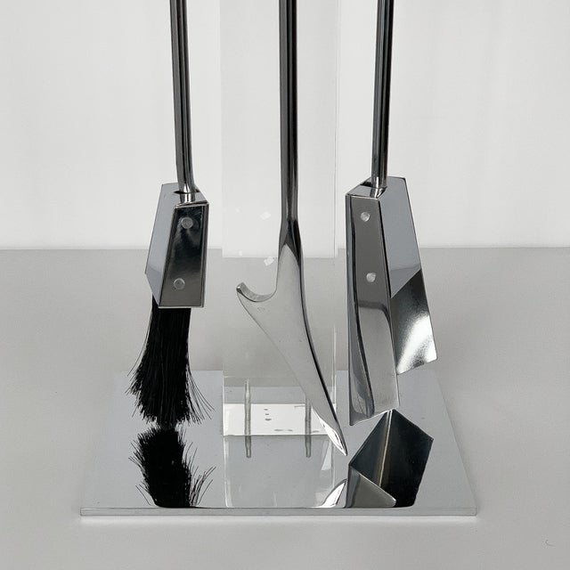 Alessandro Albrizzi 1970s Albrizzi Lucite and Chrome Fireplace Tools For Sale - Image 4 of 11