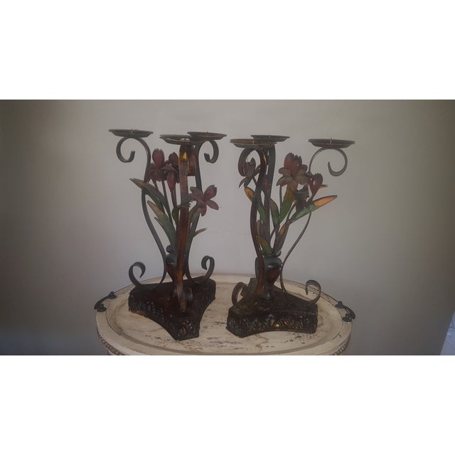 Large Metal Candle Holders - A Pair - Image 2 of 7