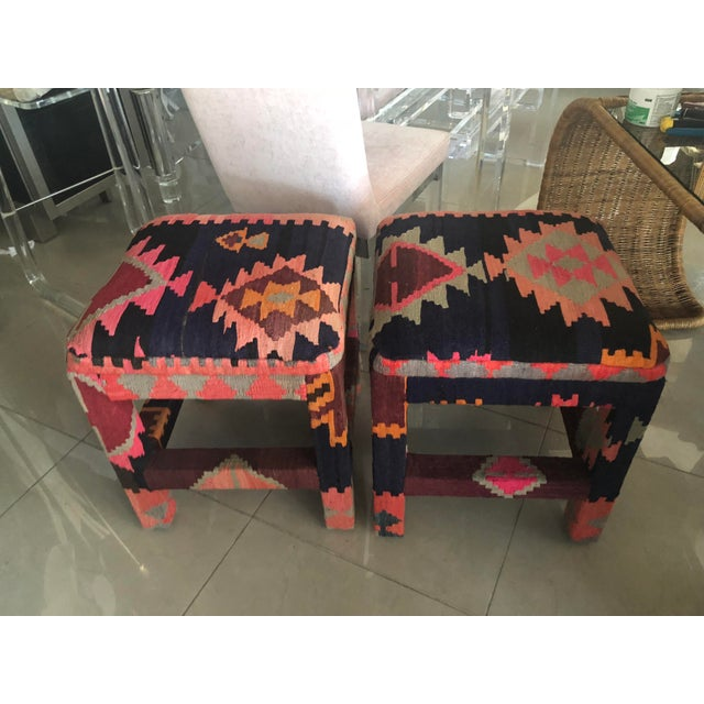 Boho Chic Vintage Boho Kilim Rug Upholstered Benches Stools Ottomans -A Pair For Sale - Image 3 of 13
