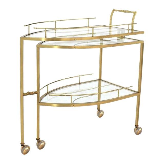 Unusual Iron Shape Folding Brass Tea Cart For Sale