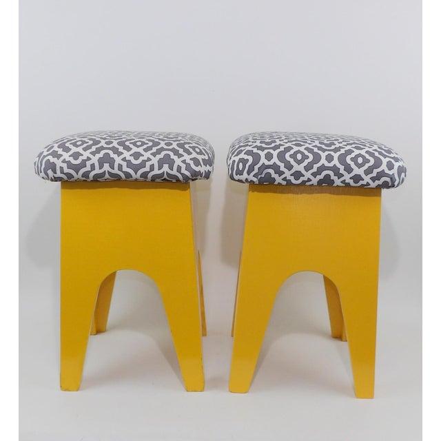 Mid-Century Modern Marigold Geometric Pattern Stools - A Pair - Image 4 of 8