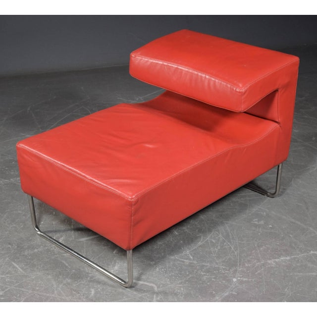 1950s Red Chaise Longue Chair For Sale - Image 5 of 5