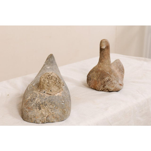 Mid 19th Century Pair of 19th Century French Carved Stone Ducks For Sale - Image 5 of 12