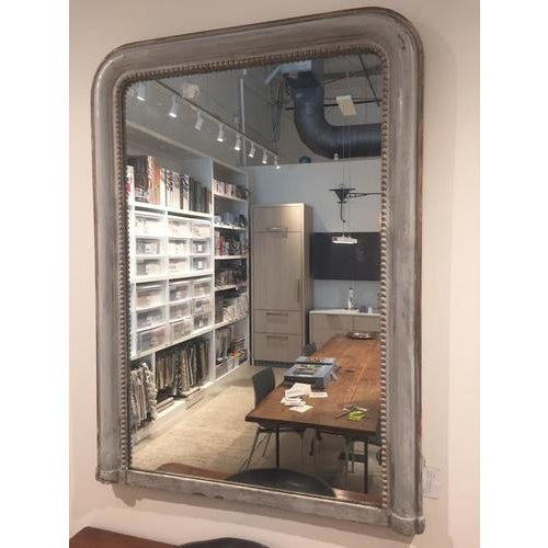 Wonderful 19th century French Louis Philippe mirror, painted a soft gray, large proportions. Would work great in a variety...