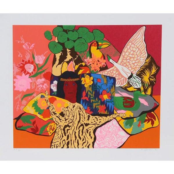 """Hunt Slonem, """"Pillow Jungle,"""" Serigraph - Image 1 of 2"""