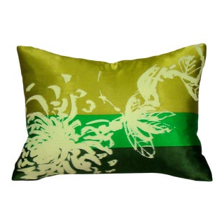 Green Floral Vera Scarf Pillow Cover For Sale