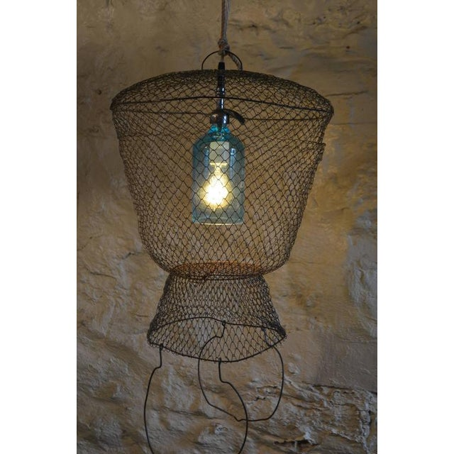 Pendant Light from Seltzer Bottle Suspended in French, Steel Mesh Fish Basket - Image 4 of 11