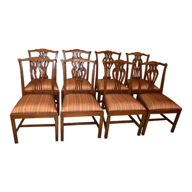 Vintage Ardley Hall Mahogany Chippendale Style Chairs - Set of 8 For Sale