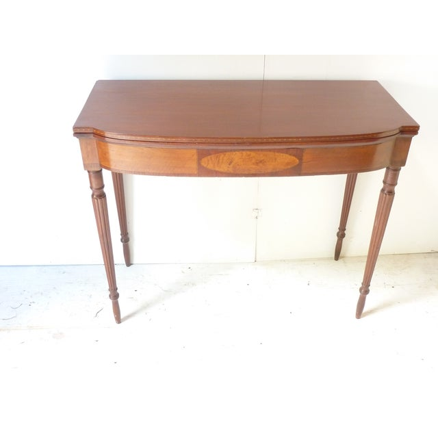 Brown 19th Century Early American Mahogany Demi-Lune Card Table For Sale - Image 8 of 8