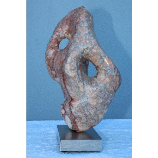 Light Pink Mid-Century Modern Abstract Marble Sculpture For Sale - Image 8 of 13