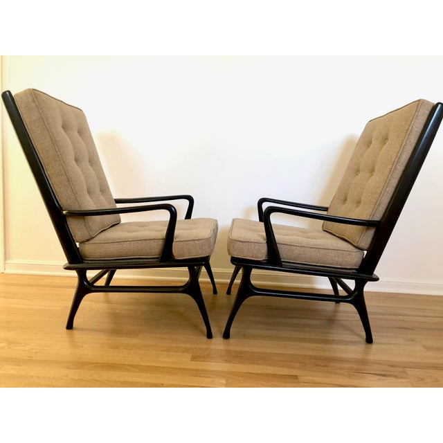 Mid-Century Modern Mid Century Ebonized Chairs - a Pair For Sale - Image 3 of 8