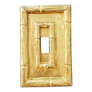 Vintage Brass Bamboo Light Switch Plate For Sale