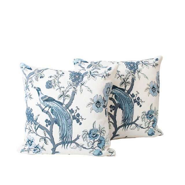 Blue Blue and Ivory Chinoiserie Bird Pillows, a Pair For Sale - Image 8 of 8