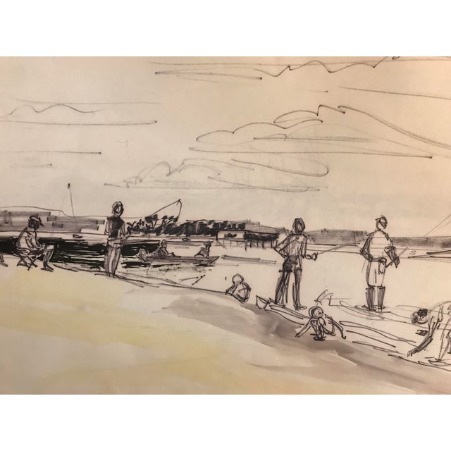 Illustration 1960s Fishing Scene, Pawley's Island Painting For Sale - Image 3 of 3