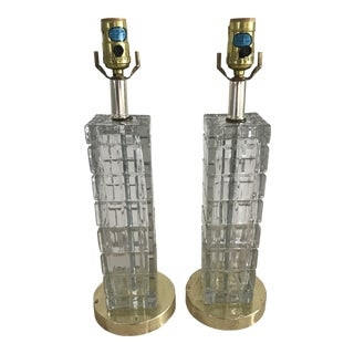 1960s Crystal Cube Vintage Lamps - a Pair For Sale